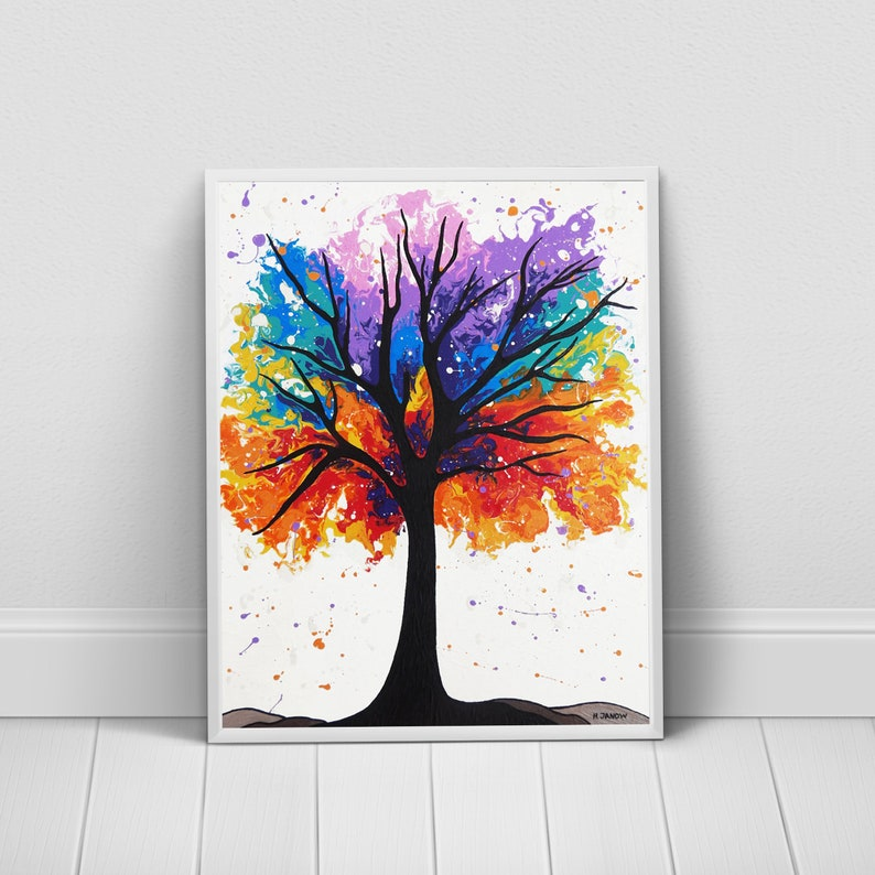 Tree Wall Art Rainbow Art Tree Print Modern Home Decor image 0