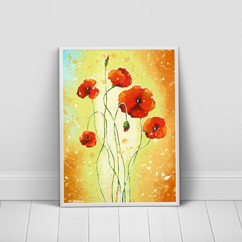 Poppy Flower Print Botanical Print Poppy Painting Flower image 0