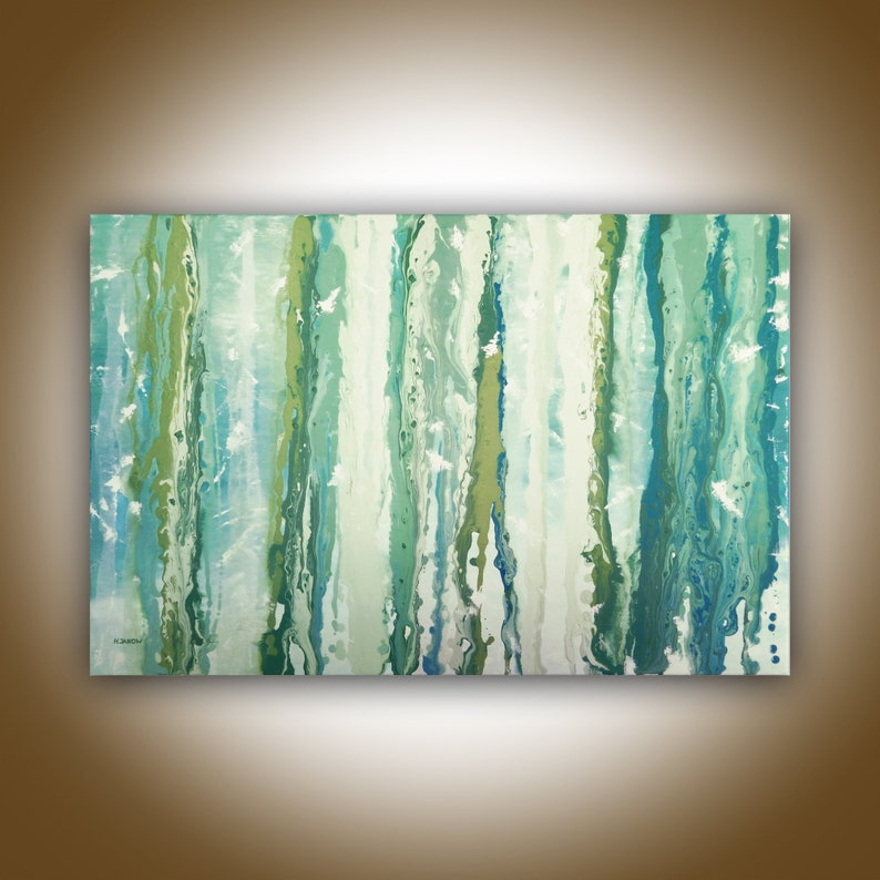 Original Acrylic Pour Painting on Canvas Turquoise Wall Art image 0