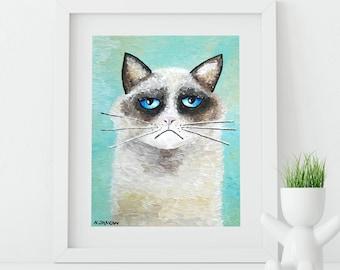 Ragdoll Cat Art Print Whimsical Cat Turquoise Feline Art Wall Decor Funny Pet Lover Gift Kids Room Decor
