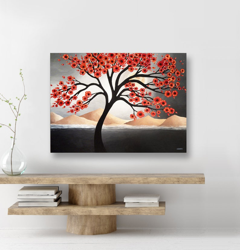 Red Tree of Life Acrylic Painting Tree Wall Decor Desert image 0