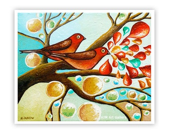 Love Birds Giclee Print, Whimsical Bird Animal Art, Couples Art, Wedding Anniversary Christmas Gift