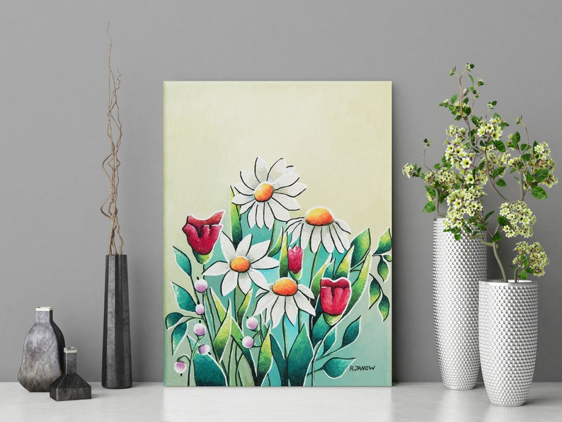 Original Wild Flower Painting on Canvas Daisy Flower Floral image 0