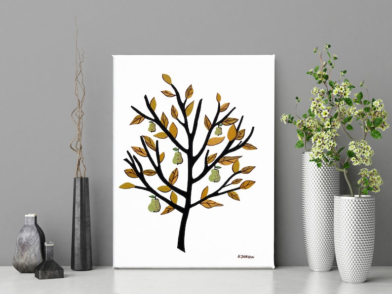 Scandinavian Wall Art Pear Tree Painting on Canvas image 0