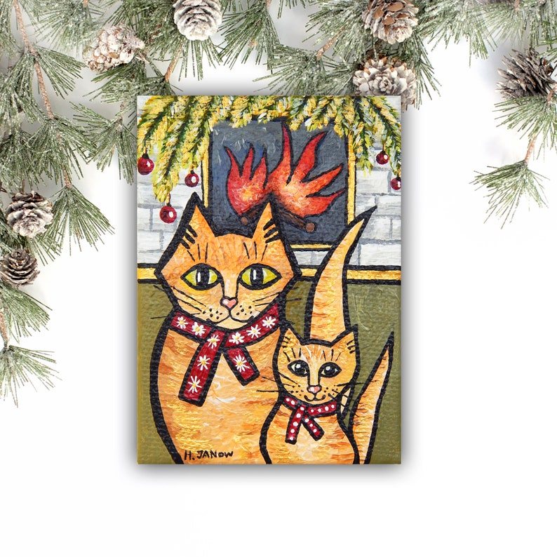 Orange Tabby Cat Original ACEO Painting Mommy and Baby Cat image 0