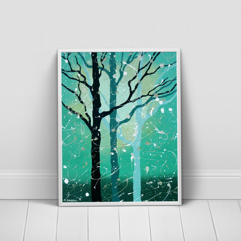 Turquoise Home Decor Turquoise Print Forest Wall Art image 0