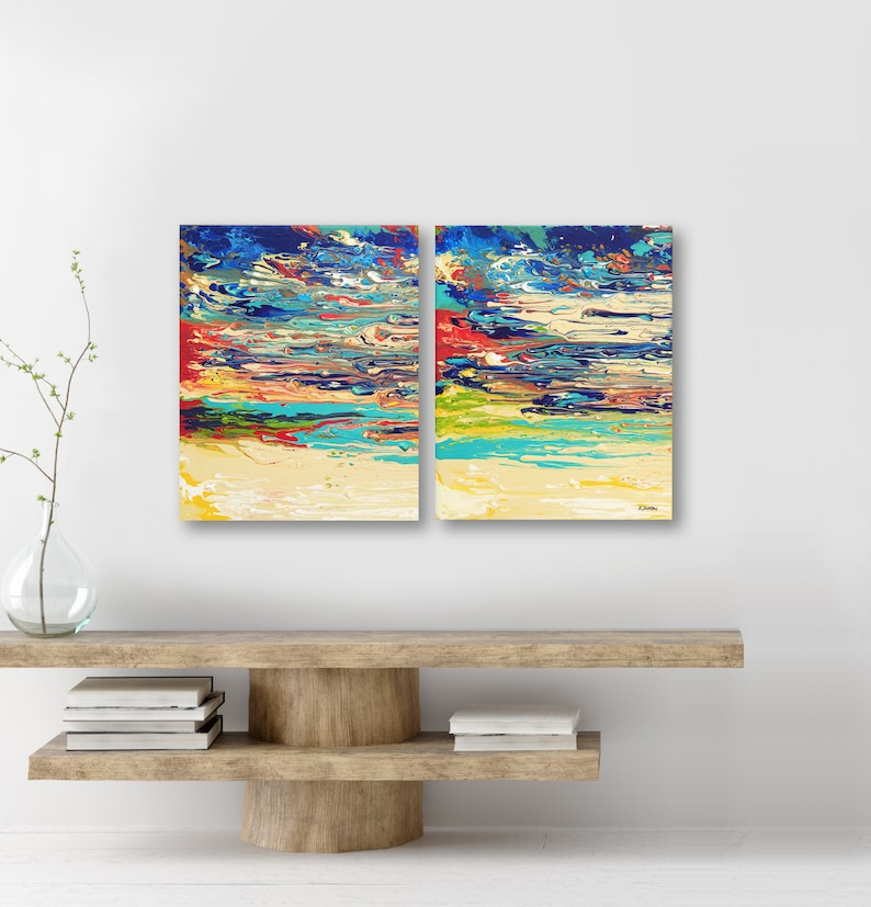 Acrylic Pour Abstract Painting Set of 2 Colorful Art Original image 0