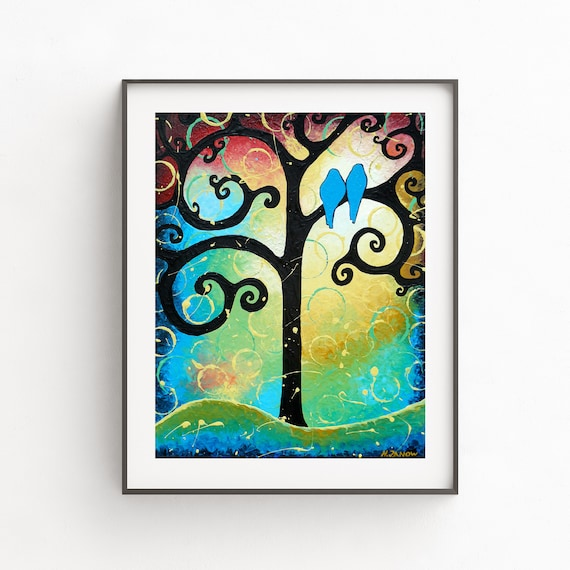 Tree Of Life Print Wall Decor Tree Of Life Landscape Wall Art Love Birds Whimsical Art Print Romantic Gift For Couple