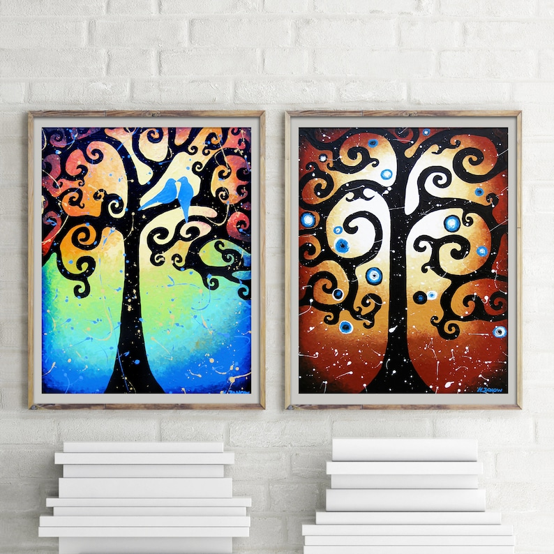 2 Piece Print Set Whimsical Tree Wall Art Whimsical Forest image 0
