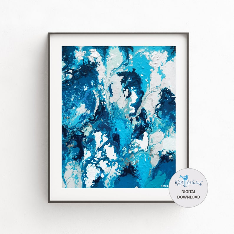 Abstract Wall Art Coastal Wall Art Fluid Art Print for image 0
