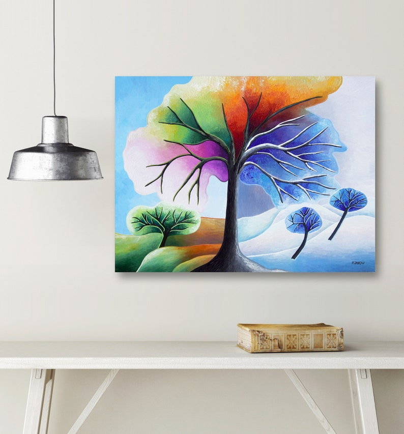 Rainbow Tree Painting Wall Art Four Seasons Tree Art Acrylic image 0