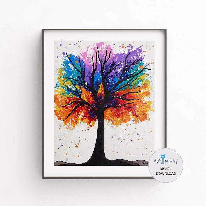 Digital Download Rainbow Tree Wall Art Printable Art Print image 0