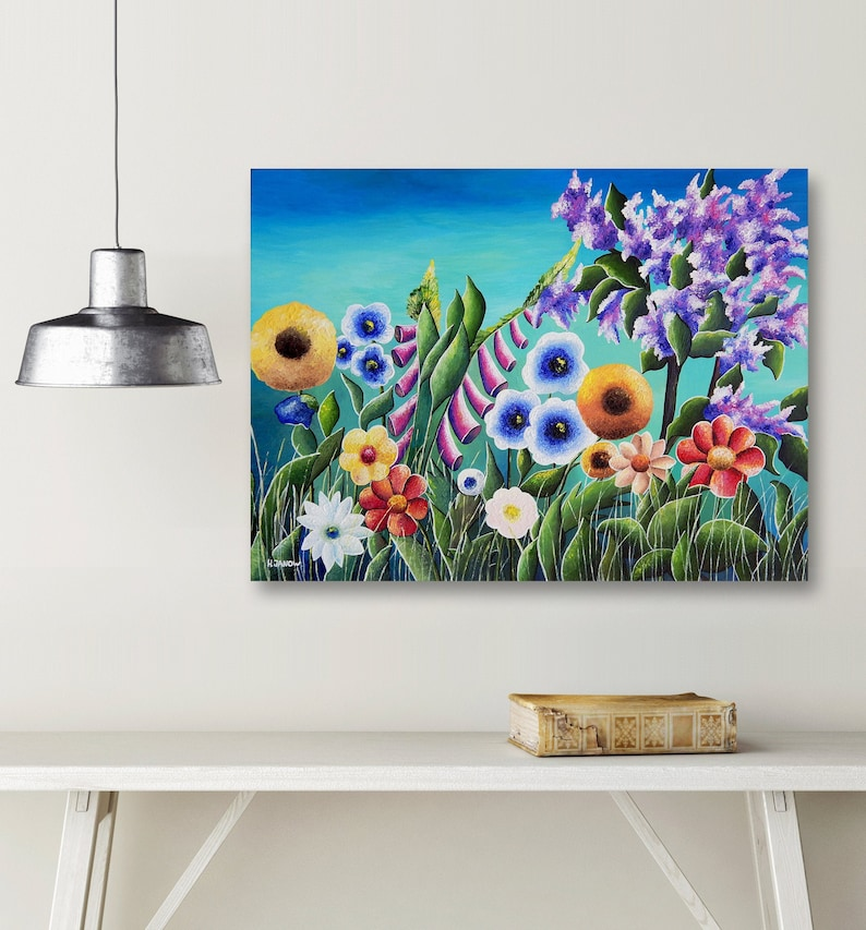 Original Meadow Painting on Canvas Whimsical Wildflower Wall image 0