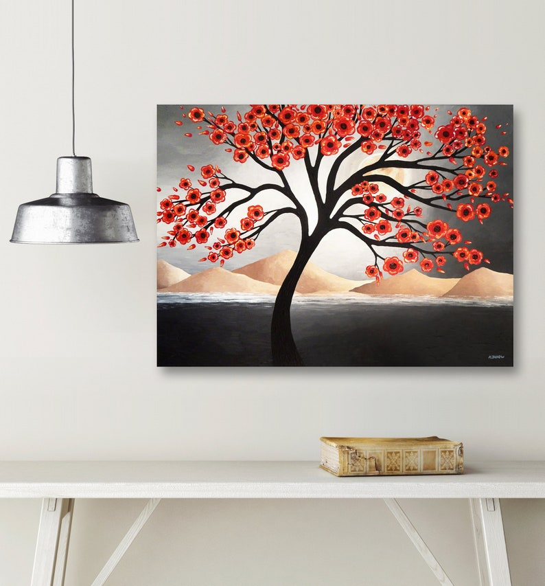 Black White Red Wall Art Landscape Painting Tree Forest image 0