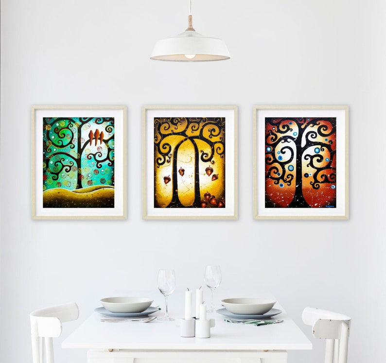 Tree Of Life Wall Gallery Set of 3 Prints Woodland Forest image 0