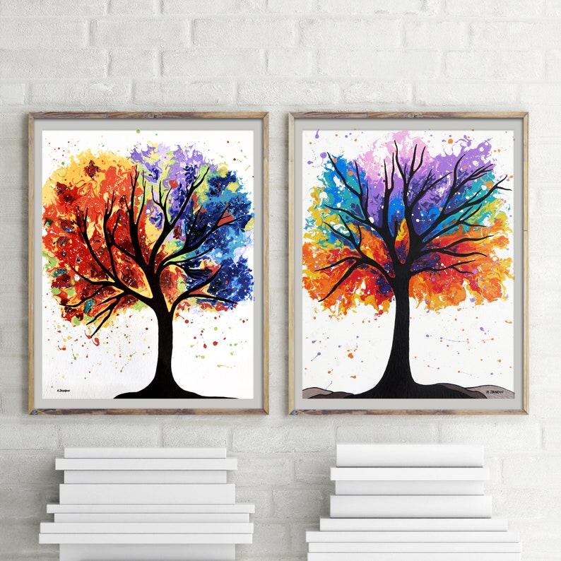 Rainbow Trees Wall Art Gallery Wall Print Set of 2 Fine Art image 0