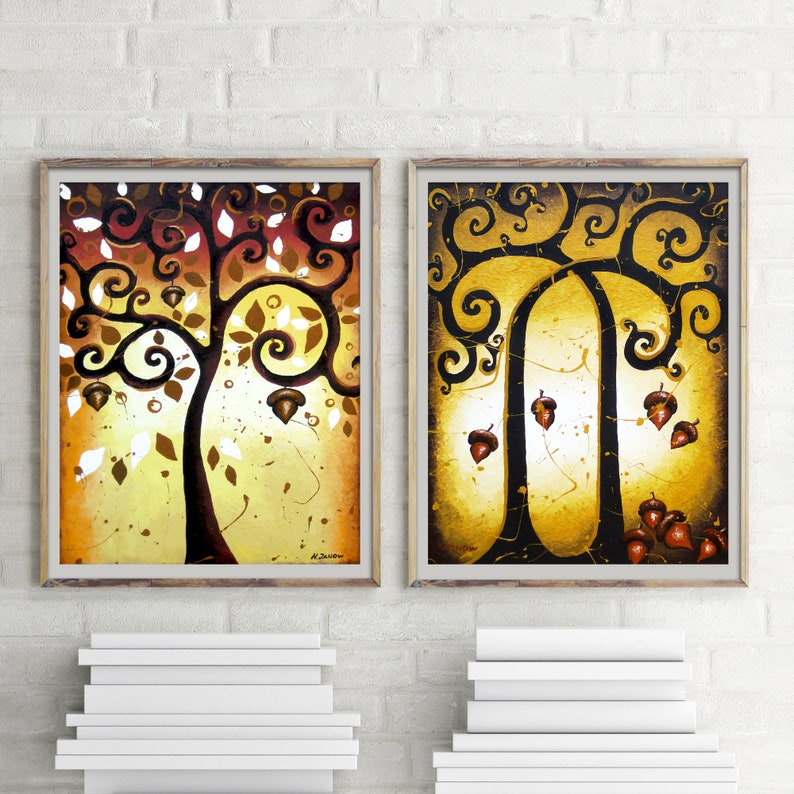 Forest Art Print Set Wall Gallery set of 2 Fine Art Prints image 0