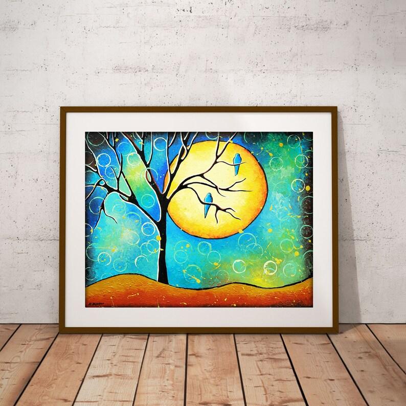 Harvest Moon Print Birds Trees Landscape Turquoise Wall image 0
