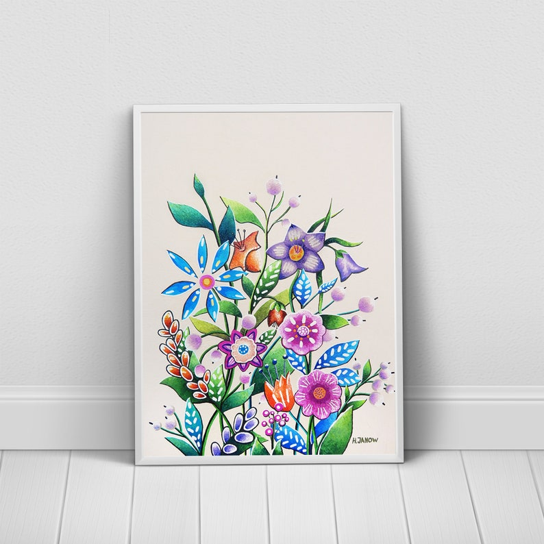 Abstract Florals Art Print Bright Colors Flowers Wall Decor image 0