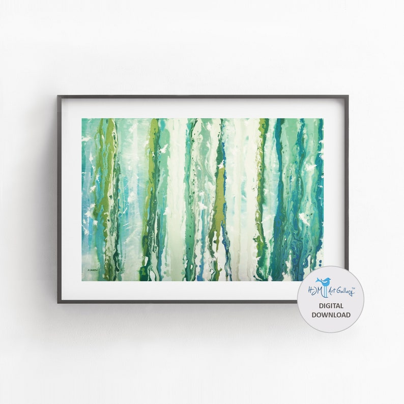 Turquoise Abstract Wall Art Digital Download Fluid Art Print image 0