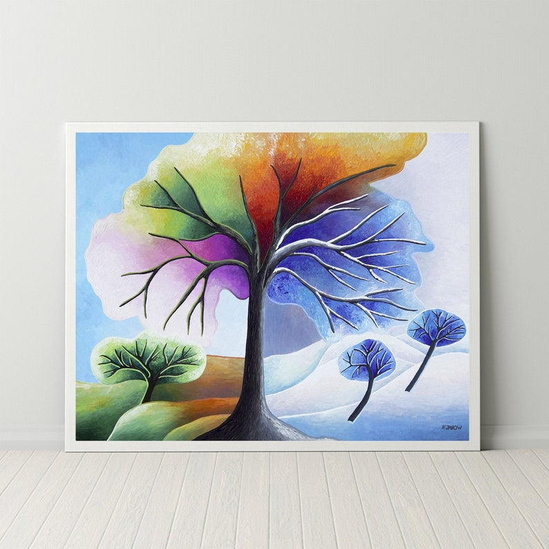 Rainbow Tree of Life Print Chakra Art Four Seasons Tree Wall image 0