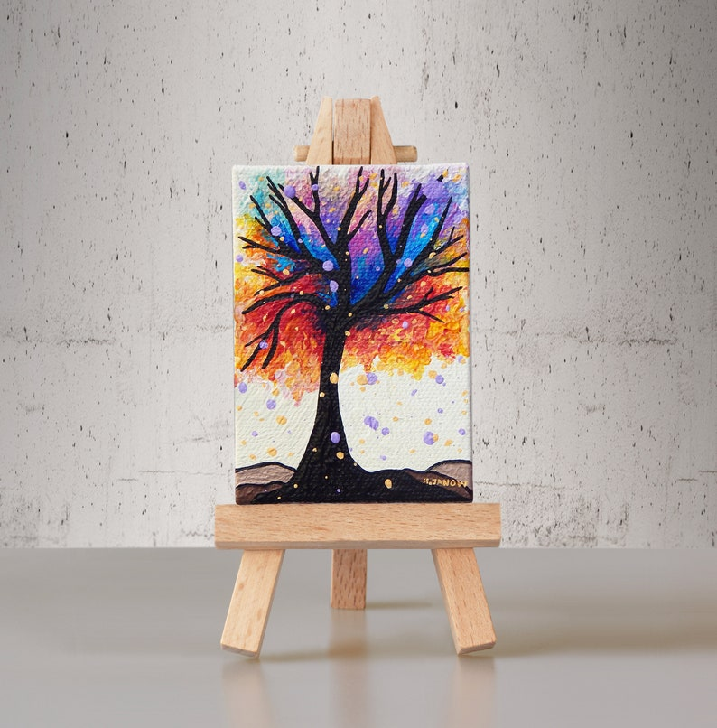 Rainbow Tree of Life ACEO Original Woodland Pour Painting image 0