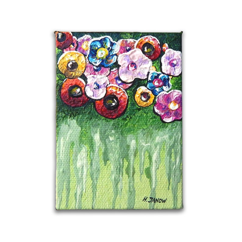 ACEO Original Abstract Flower Painting on Canvas  Artist image 0