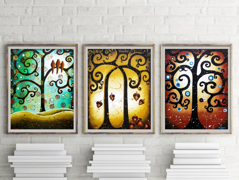 Whimsical Tree Of Life Wall Gallery Set of 3 Fine Art Prints image 0