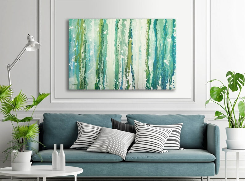 Turquoise Home Decor Acrylic Pour Painting on Canvas image 0