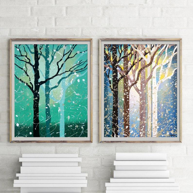 Forest Art Prints Set of 2 Prints Forest Wall Art Set of 2 image 0