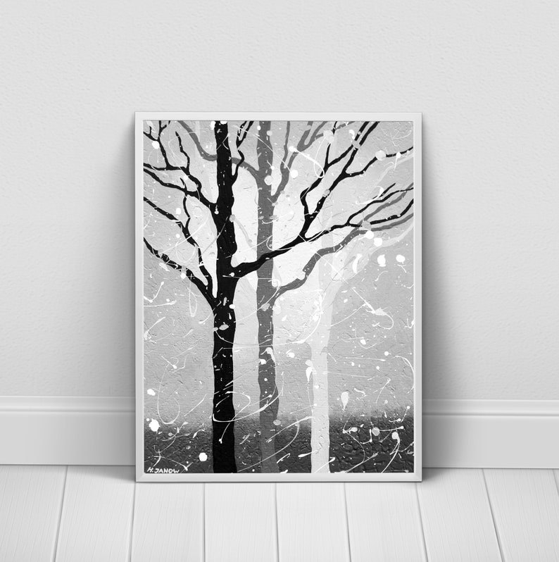 Back and White Wall Art Forest Print Gray Tree Art Print image 0