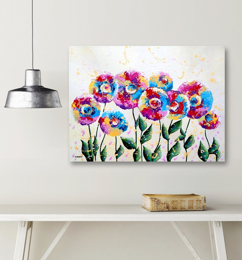 Rainbow Flowers Painting Acrylic Pour Painting on Canvas image 0
