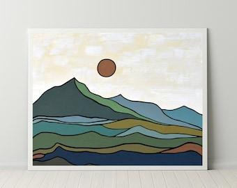 Mountain Wall Art Digital Download, Mid Century Modern Art Print, Nordic Art Print, Scandinavian Wall Art, Minimalist Landscape Abstract Art