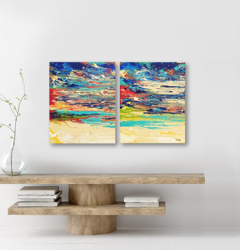Abstract Sunset Painting on Canvas Acrylic Pour Art Colorful image 0