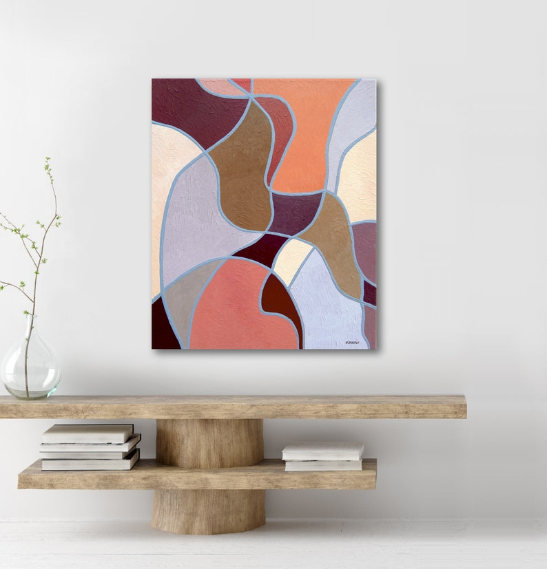 Coffee Brown Abstract Shapes Color Block Painting on Canvas image 0