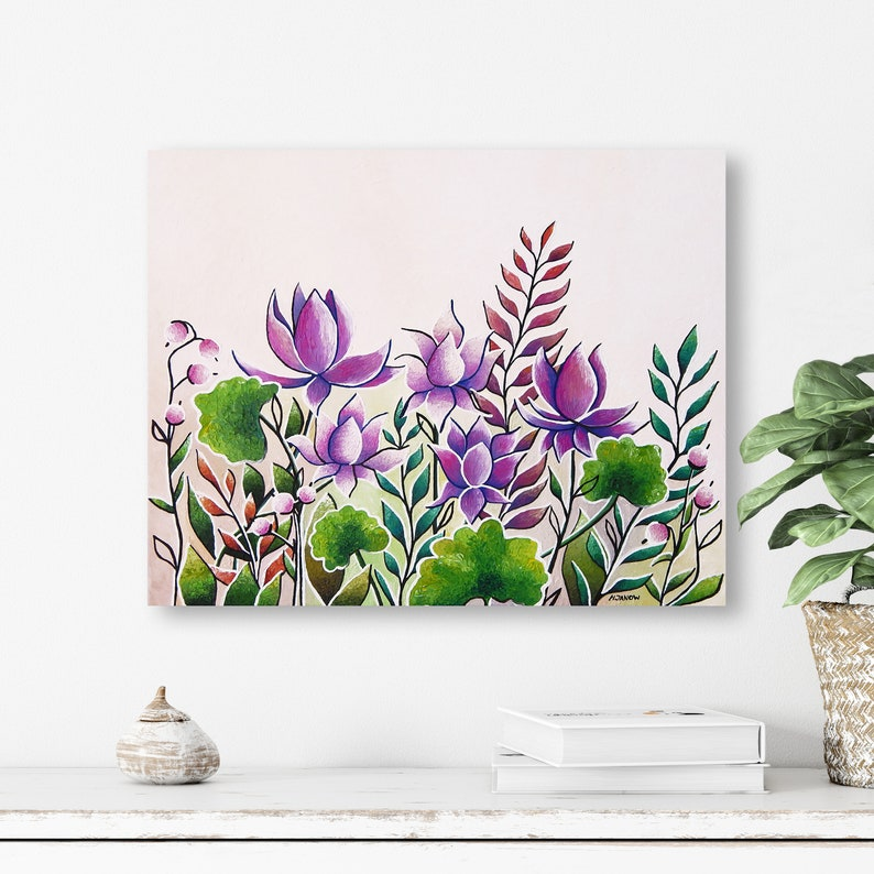 Original Zen Art Lotus Flower Painting on Canvas Purple Wall image 0