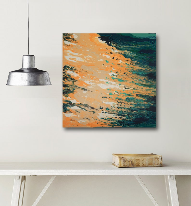 Beach Coastal Painting Acrylic Pour Painting on Canvas image 0
