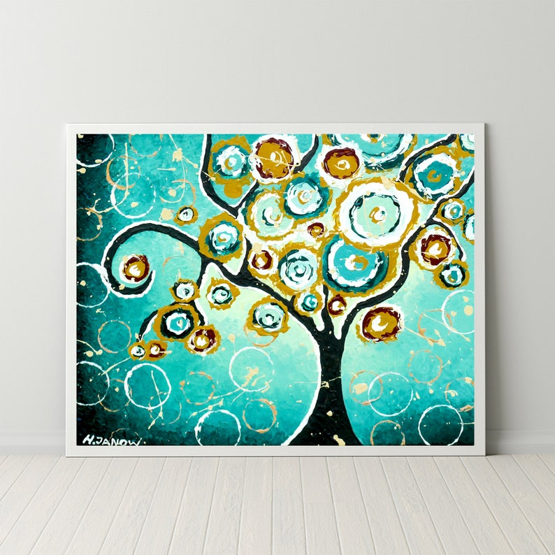 Tree of Life Print Brown Teal Wall Art Turquoise Home Decor image 0