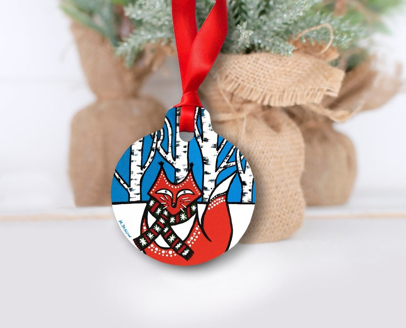 Fox Ornament Christmas Ornament Holiday Decorations image 0