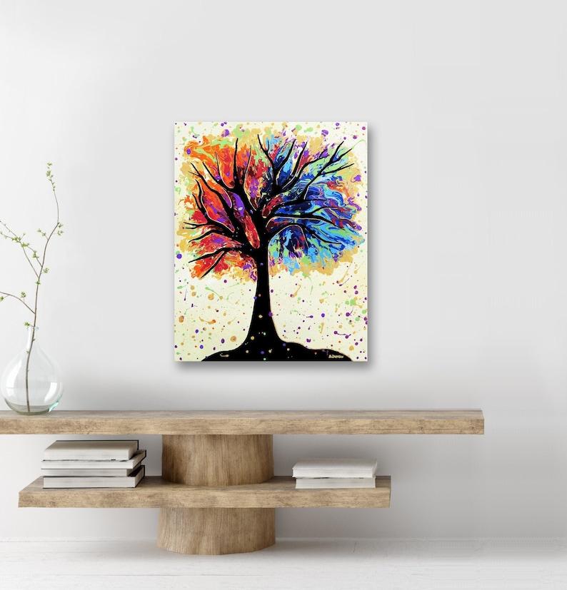 Chakra Art Rainbow Tree of Life Wall Art Chakra Painting on image 0