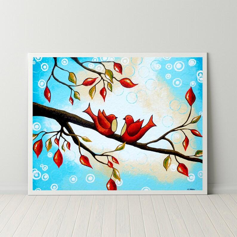 Red Lovebirds Art Print Birds on Branch Wall Art Whimsical image 0