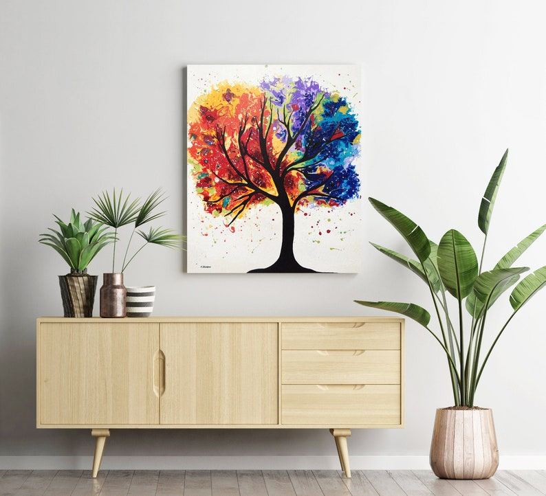 Rainbow Tree Wall Art Acrylic Pour Painting on Canvas image 0