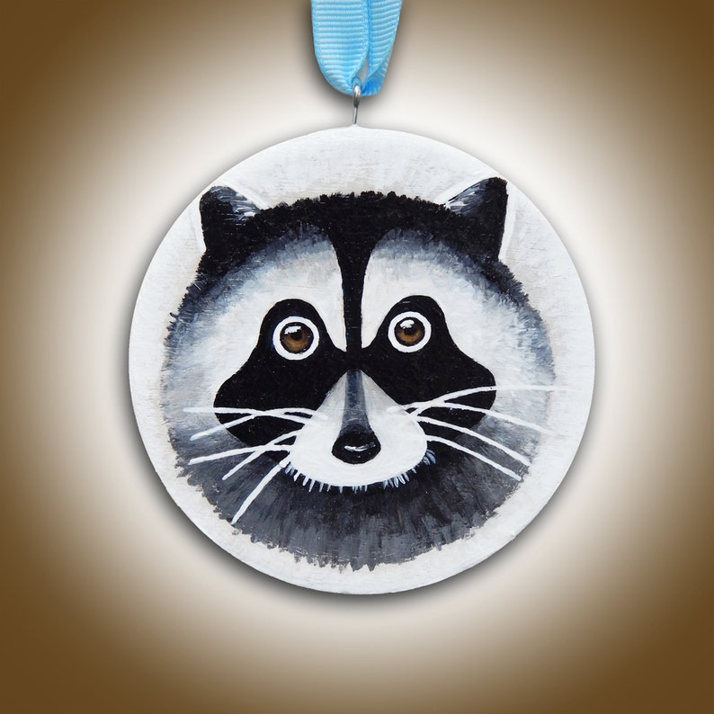 Raccoon Ornament Christmas Tree Ornament Hand Painted image 0