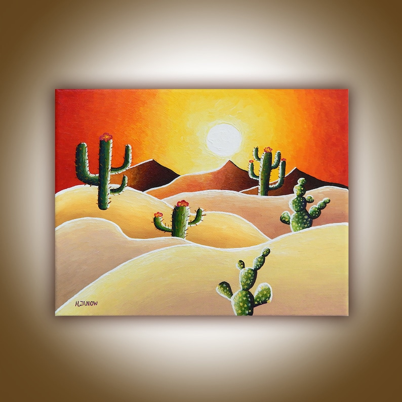 Original Desert Painting on Canvas Desert Cactus Painting image 0