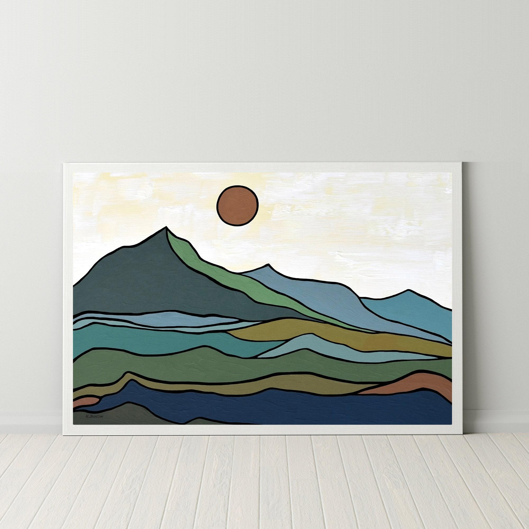 Mid Century Mountain Print Digital Download Nordic Art Print   Etsy