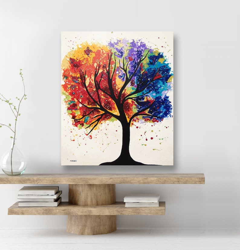 Rainbow Tree Acrylic Pour Painting Tree of Life Wall Art image 0