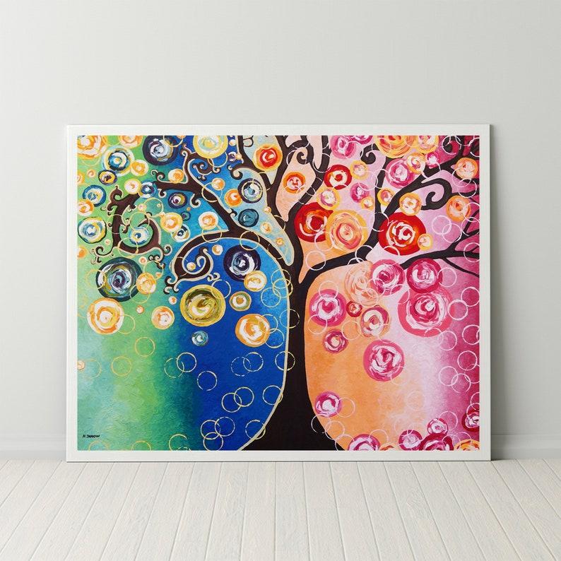 Fluid Art Print Tree Wall Art Print Rainbow Tree of Life image 0