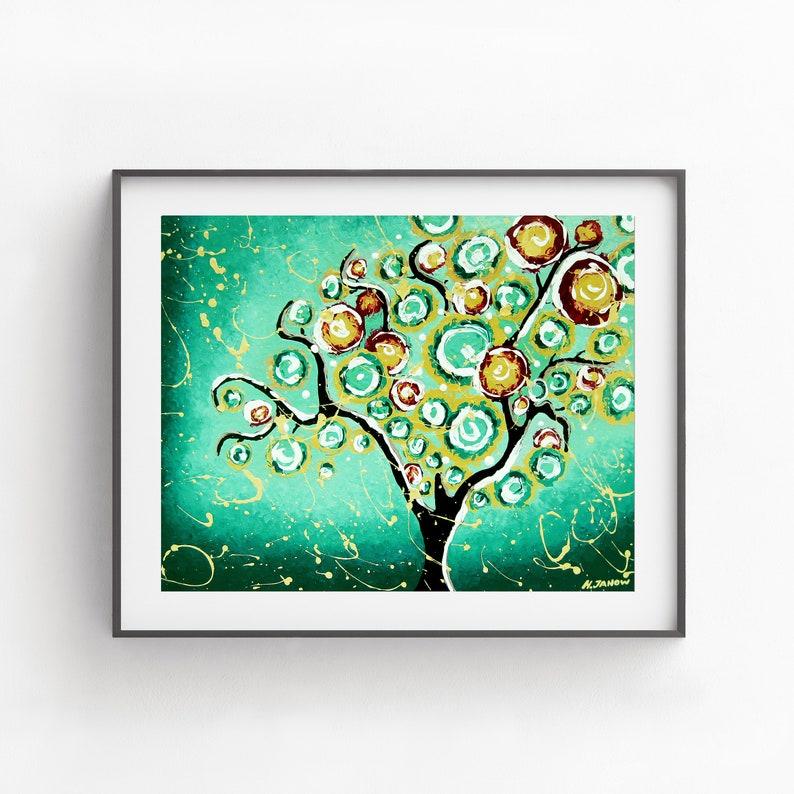 Turquoise Green Wall Art Print Tree of Life Wall Art Giclee image 0