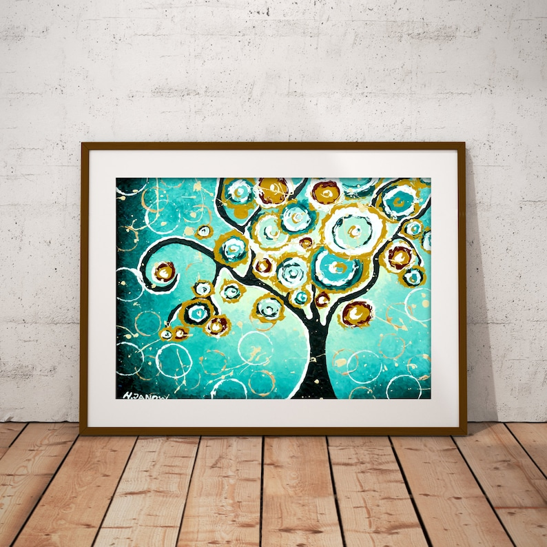 Turquoise Wall Art Tree Art Print Tree of Life Teal Art image 0