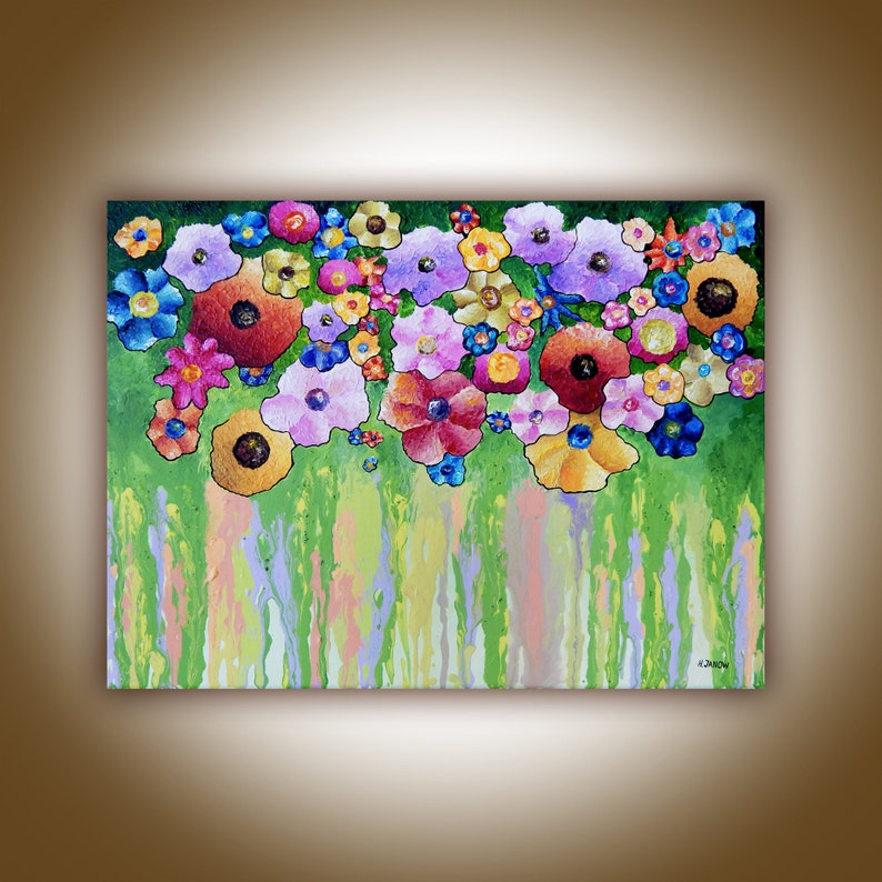 Original Wildflower Painting Flower Wall Art Pour Painting on image 0